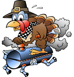 cartoon of an thanksgiving turkey riding a bbq vector image