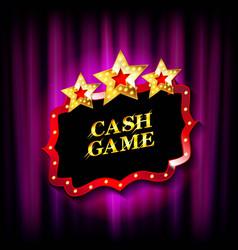 Cash game gold frame banne vector