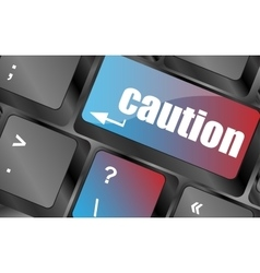 Caution keyboard key showing business insurance vector