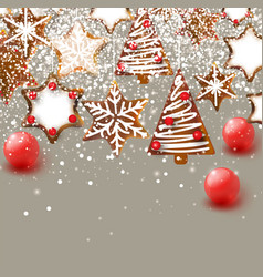christmas background with christmas gingerbreads vector image