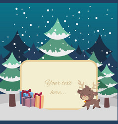 christmas scene greeting with reindeer and custom vector image
