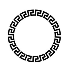 circle frame of simple greek pattern black vector image