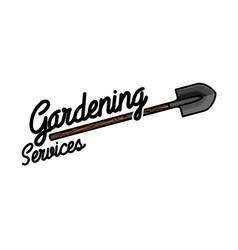 color vintage gardening emblem vector image