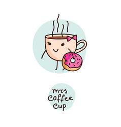 cute cartoon cup coffee and donut vector image
