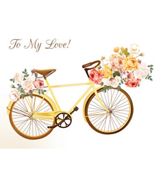 Cute invitation with yellow bicycle and flowers vector