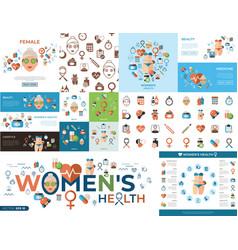digital woman health icons set vector image