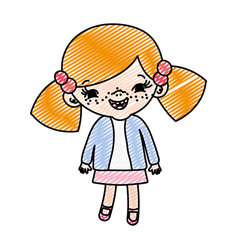 Doodle happy girl child with two tails vector