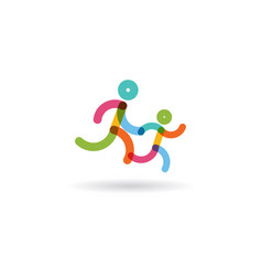 family run race colorful runnerslogo for running vector image