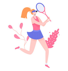 Female tennis player character with a racket vector
