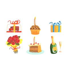 Festive table elements food and party attributes vector