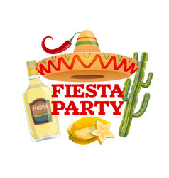 fiesta party isolated icon with typography vector image