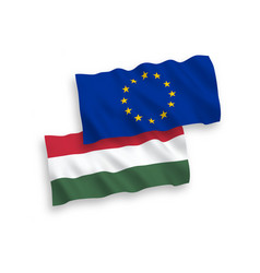 flags of hungary and european union on a white vector image