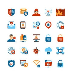 Flat Design Internet Security Icons vector image