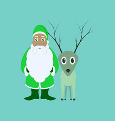 Flat on background of santa claus reindeer vector
