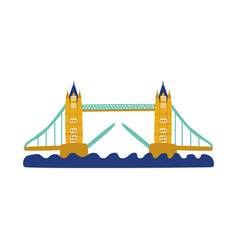 Flat tower bridge of united kingdom icon vector