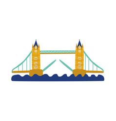 flat tower bridge of united kingdom icon vector image