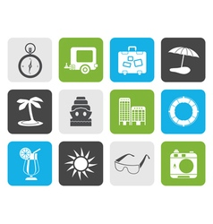 Flat travel holiday and trip icons vector