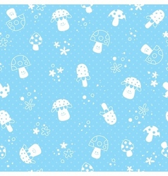 Flowers and mushrooms nature pastel baby pattern vector
