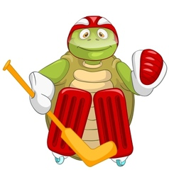 Funny Turtle Hockey Goalie vector