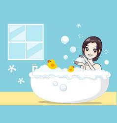 Girl in bath vector