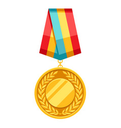 gold medal with multi colored ribbon vector image