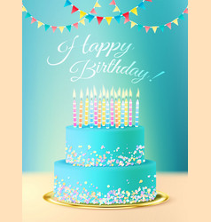 Happy Birthday Message With Realistic Cake vector image