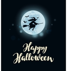 Happy Halloween Full moon witch flying on vector image