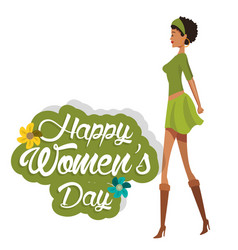 Happy womens day cute girl green dress vector