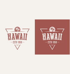 Hawaii state textured vintage t-shirt and vector