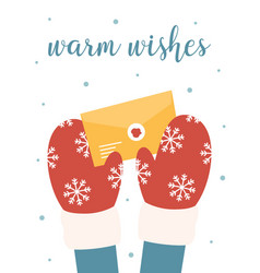 holiday card with letter and santa hands vector image