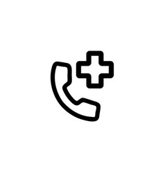 hospital phone icon isolated contour vector image