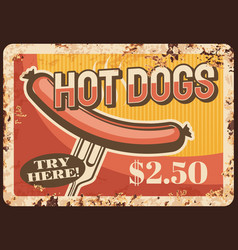 hot dog fast food rusty plate price tag vector image