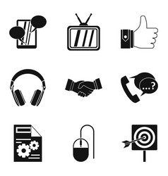 Important information icons set simple style vector