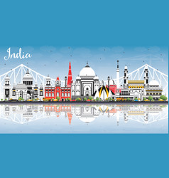 india city skyline with color buildings blue sky vector image