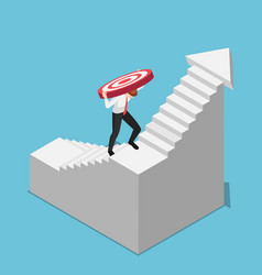 Isometric businessman carrying target while vector