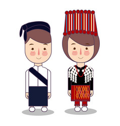 Kachin myanmar traditional national clothes south vector