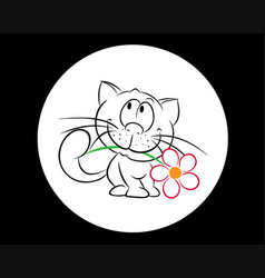 Kitty with a red flower vector