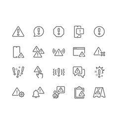 Line warnings protection icons vector