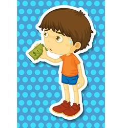 Little boy holding some money vector