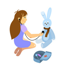 Little girl playing a doctor with plush rabbit toy vector