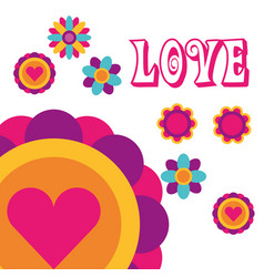 love flowers love heart bohemian hippie free vector image