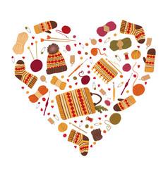 Love for knitwear flat heart shaped frame vector
