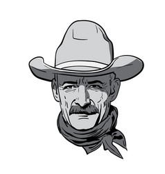 man face with cowboy hat western portrait vector image