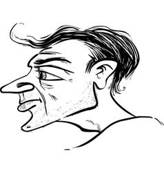 Man profile caricature sketch vector