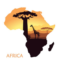Map of africa with the landscape of sunset vector