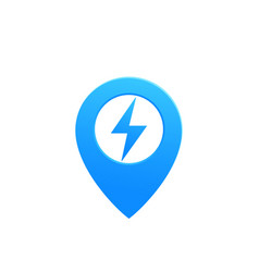 map pointer pin icon with electricity symbol vector image