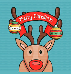 merry christmas nose deer greeting card vector image