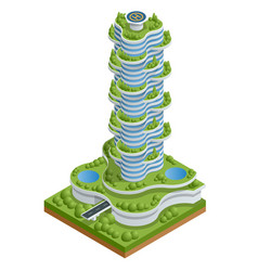 modern ecologic skyscraper with many trees vector image