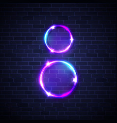 neon frame light circles for womens day 8 march vector image