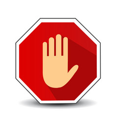 No entry hand sign with long shadow in flat style vector